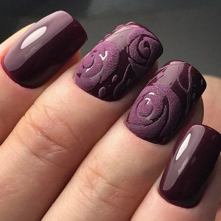 плетени нокти в бордо
