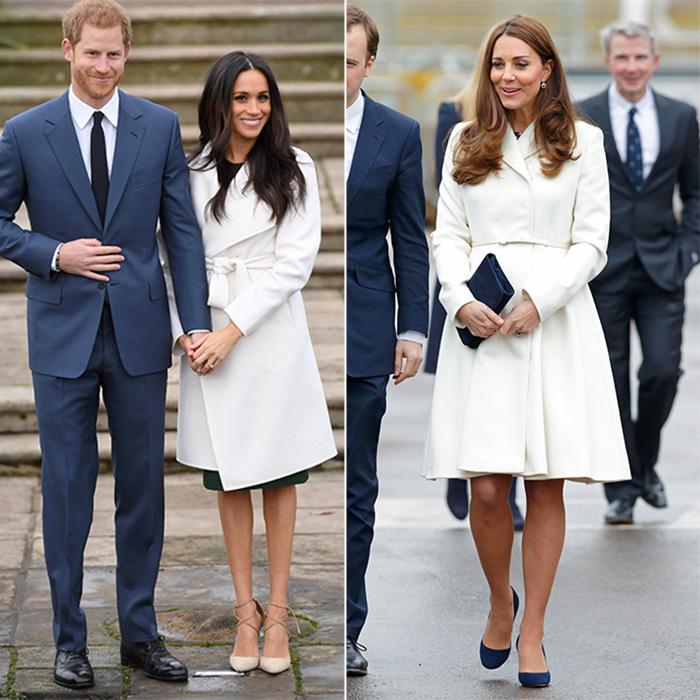 Кейт и Меган бяло палто