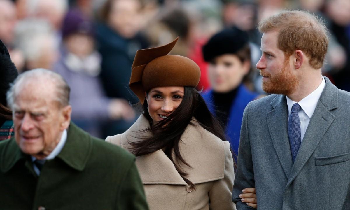Меган и Хари с принц Филип
