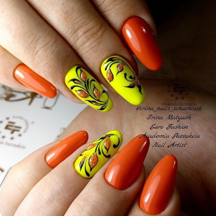 маникюр в оранжево и жълто