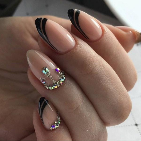 френски с черно и кристали