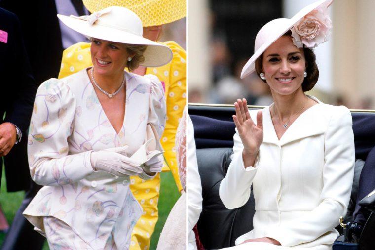 Кейт и Даяна с бели шапки
