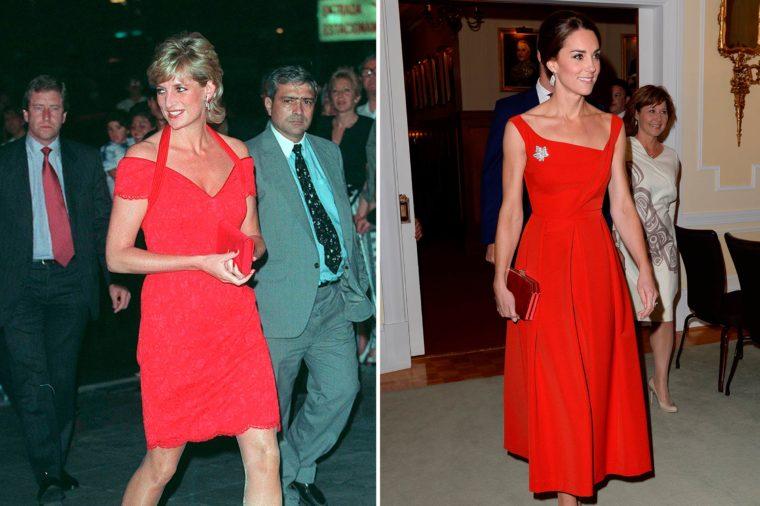 Кейт и Даяна в червена рокля