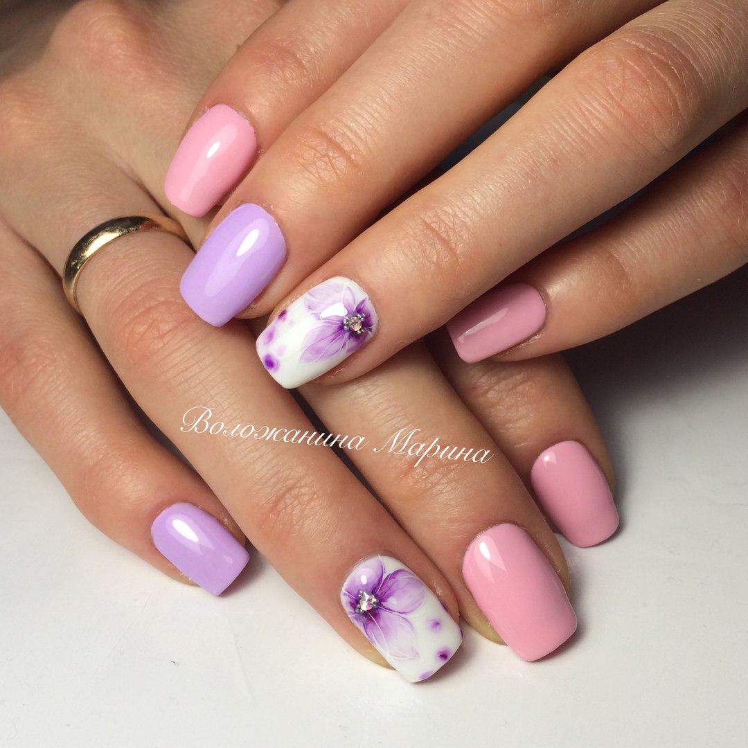 маникюр розово и лилаво