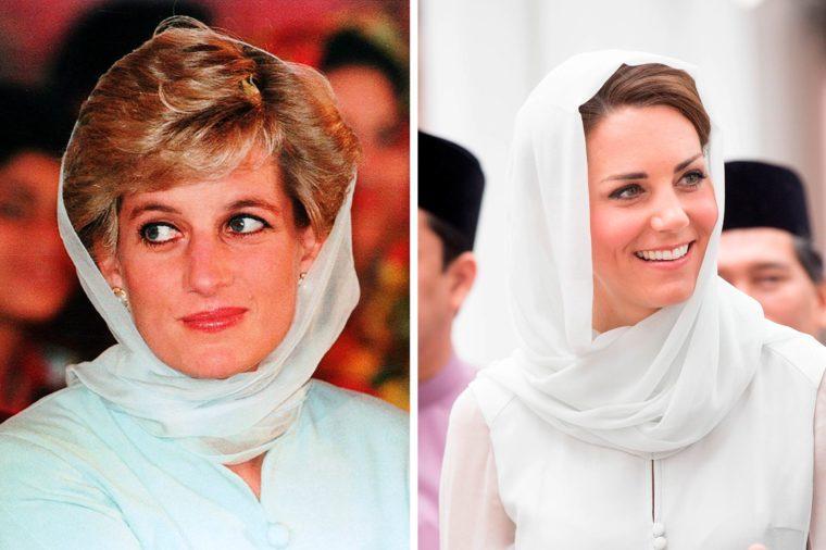 Кейт и Даяна с копринен шал