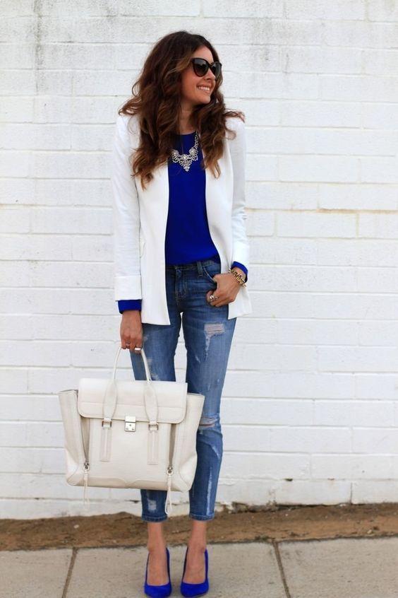 наситено синя блуза