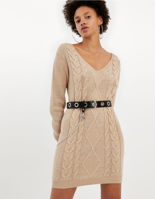 Къса рокля с едро плетиво