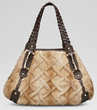 gucci чанта от кожа с косъм с плетени дръжки