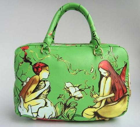 Дамска Стилна Чанта в Зелено с Изображения на Жени