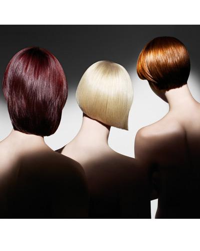 лъскава червена, руса и черна коса