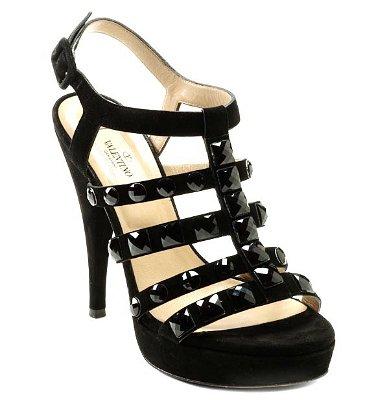 Валентино велурени сандали със скъпоценни камъни