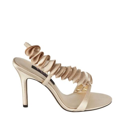 Сатенени кралски сандали с уникални декорации от Нина