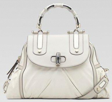 Gucci голяма бяла кожена чанта