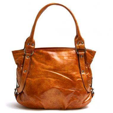 Лола Сити кожена чанта цвят охра