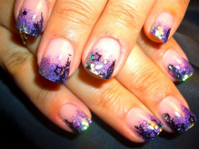 красиви нокти с брокат и звезди