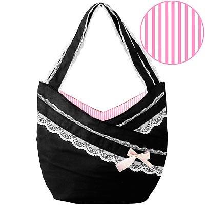 черна чанта с бели дантелени ивици
