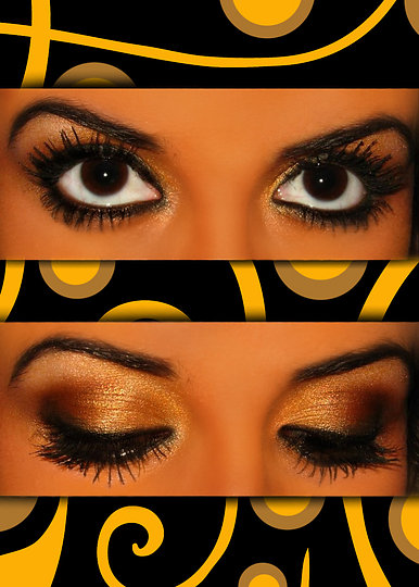 Златен грим и перфектна форма на веждите