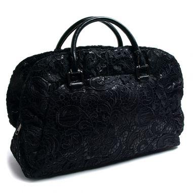 Чанта с къси дръжки с покритие от дантела