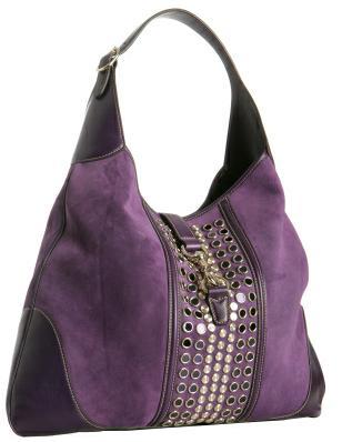 Gucci лилава чанта велур с ред капси в средата