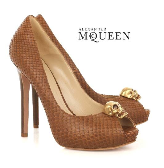 Екзотични обувки кожа от питон с отворени пръсти от Александър МакКиун