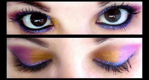 Жълти и розови сенки и лилава очна линия
