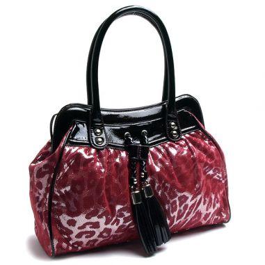 Чанта с леопардов принт цвят циклама