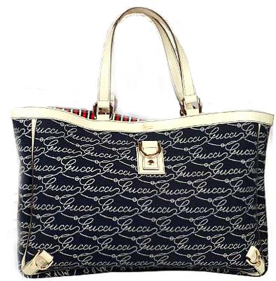 gucci текстилна чанта с бял кожен кант и дръжки