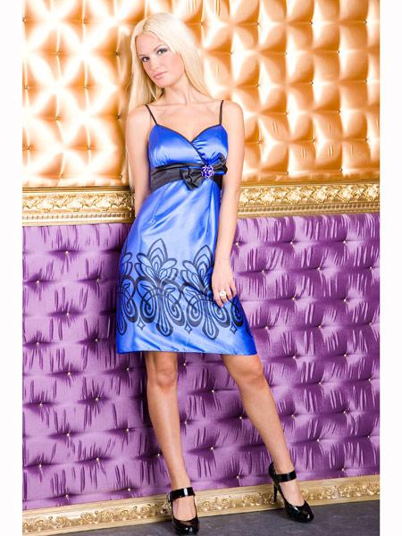 Красива Синя Секси Рокля с Панделка