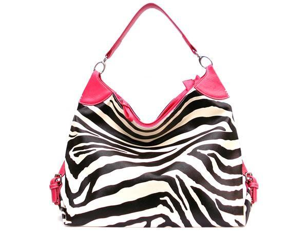 фешън чанта зебра с ярко розово