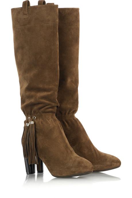 Селин Браун велурени ботуши до коляното suede-високо boots
