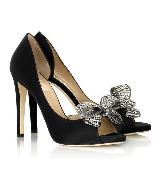 Валентино обувки от сатен с диамантена панделка