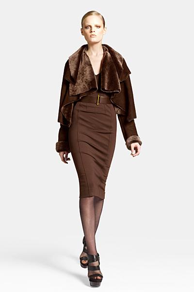 Кафява рокля до коляно с кожено болеро Предесенна колекция Icons от Diane von Furstenberg 2011