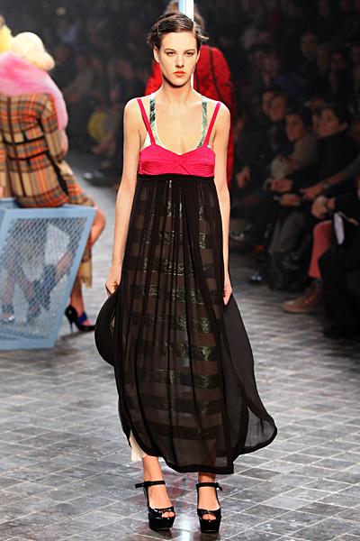 Макси рокля в черно и циклама Есен-Зима 2011 Sonia Rykiel