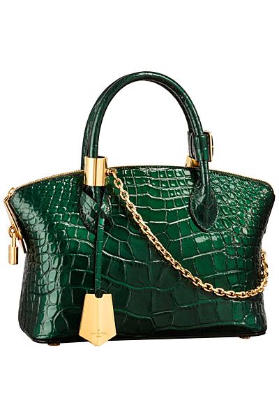Малка зелена чанта с кожа на люспи с дръжки Louis Vuitton Есен-Зима 2011