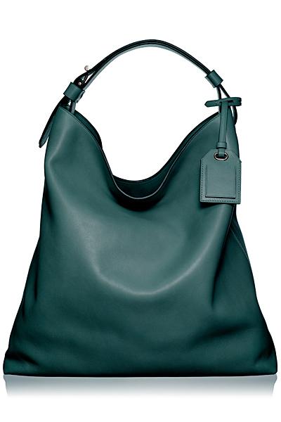 Голяма чанта от тюркоазено синя гладка кога с къса дръжка за рамо Reed Krakoff Есен-Зима 2011