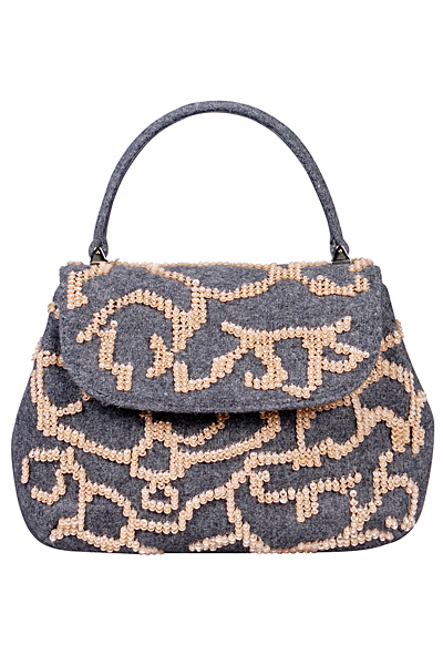 Сива чанта текстил с бродерии Alberta Ferretti Есен-Зима 2011