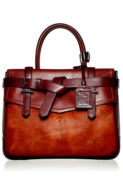 Кафява кожена делова чанта с лице с косъм Reed Krakoff Есен-Зима 2011
