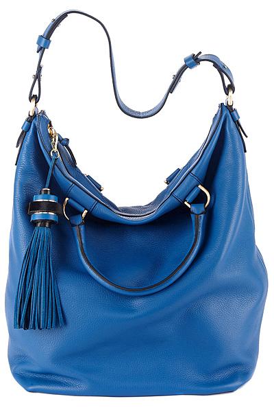Голяма чанта от синя кожа с пискюл Diane von Furstenberg Есен-Зима 2011