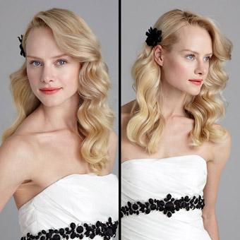 Прическа за рокля без презрамки - пусната от едната страна коса на вълни