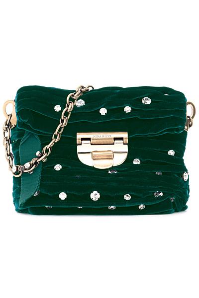 Зелена чанта с украса камъни Nina Ricci Есен-Зима 2011