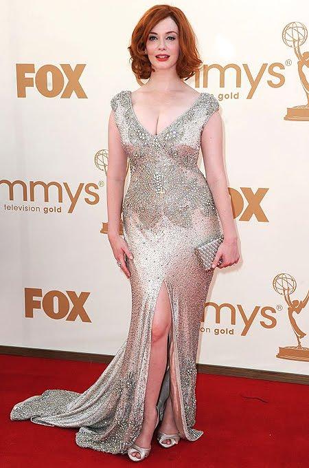 Кристина Хендрикс в блестяща рокля с диамантена бродерия Johanna Johnson