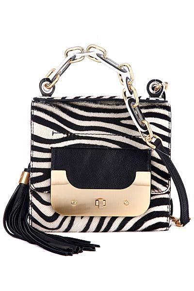 Малка квадратна чанта с пискюл и голяма катарама зебров принт Diane von Furstenberg Есен-Зима 2011