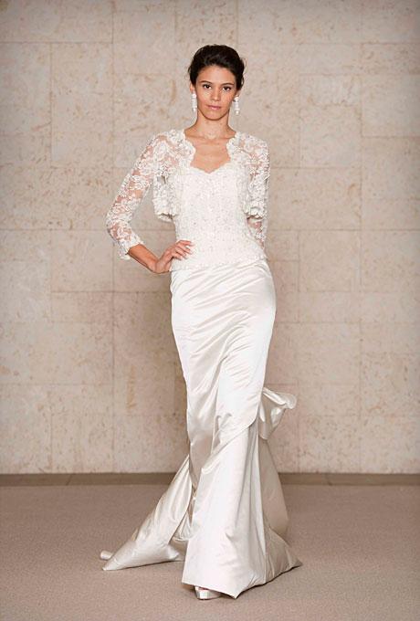 Сватбена рокля прибрана тип русалка с дантелен корсет  Oscar de la Renta Есен 2011