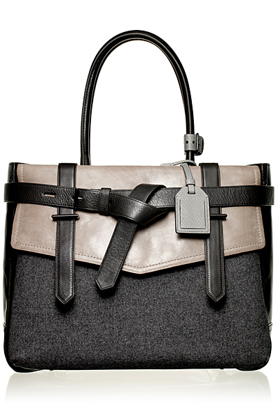 Голяма делова чанта от кожа с лице сив текстил Reed Krakoff Есен-Зима 2011