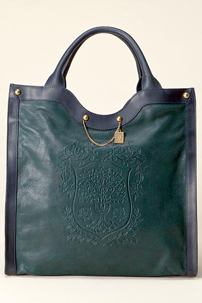 Голяма правоъгълна чанта зелена кожа със син кант Vanessa Bruno Есен-Зима 2011