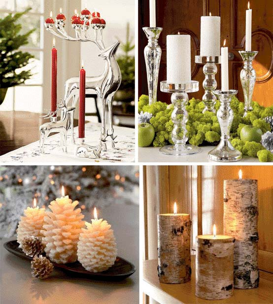 Коледна декорация със свещи