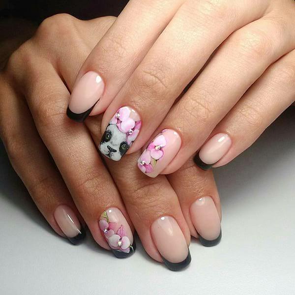 Летен маникюр за къси нокти цветя