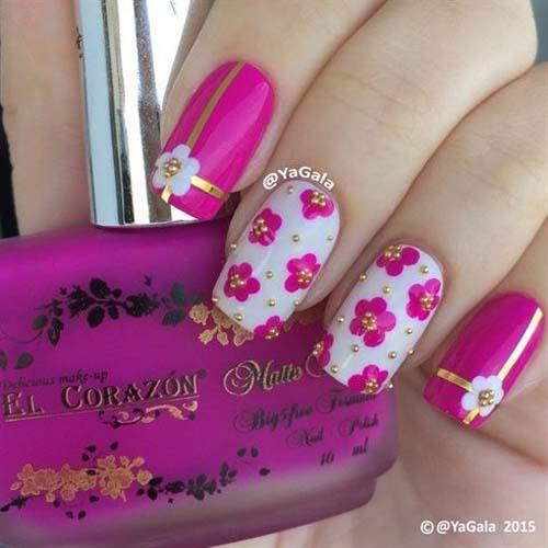 Маникюр в розово с камъни и цветя лято 2018