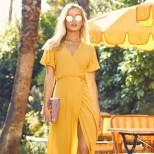 Дълга рокля в жълто с цепка лято 2018