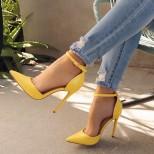 Обувки на висок ток в жълто със затворени пръсти лято 2018